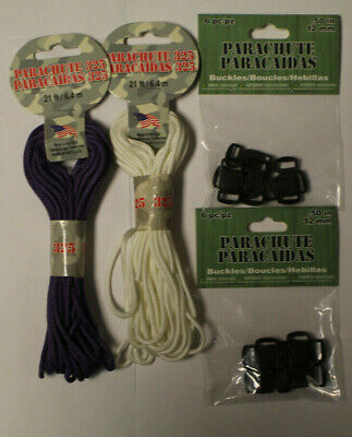 """Lot of Two Packages of 325 Paracord and Two Packages of 1/2""""  Buckles"""