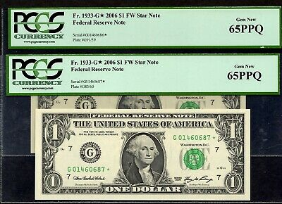 (2) Fr. 1933-G* 2006 $1 CHICAGO Star Note Federal Reserve Note PCGS 65PPQ