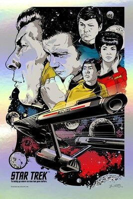 """Star Trek """"To Boldly Go"""" FOIL VARIANT by Joshua Budich Limited Edition Of 66"""