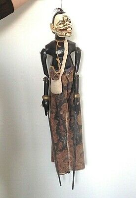 Antique Chinese Oriental or Indian puppet carved painted wood