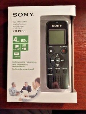 NEW Sony ICD-PX370 4GB USB Digitial Voice Recorder Dictation Machine + Mini SD