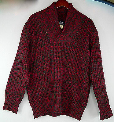 VTG Woolrich Shawl Collar Fishermen Wool Knit Sweater Mens Large Pullover Red  x