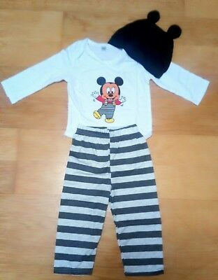 3 Piece Baby Boys Mickey Mouse Clothes Set Bundle 6-12 Months