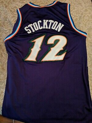 NWT JOHN STOCKTON  12 NBA Utah Jazz Swingman Throwback Jersey Purple ... 80f3615bb