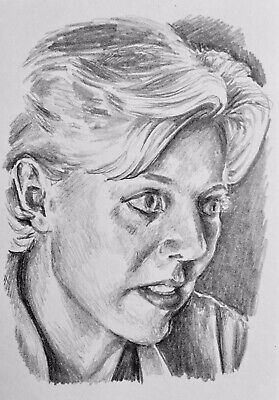 Original ACEO ATC Pencil Sketch Card - Stargate SG-1 Sam Carter