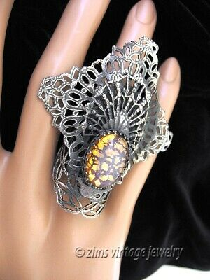 Vintage Victorian style LARGE Silver filigree FAN Opal art glass Cocktail RING