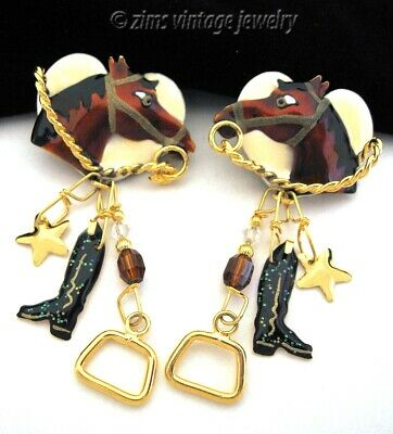 Vintage old LUNCH at The RITZ enamel Equestrian HORSE Charm gold dangle EARRINGS