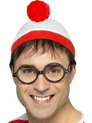 Official Wheres Wally Where's Wenda Hat Glasses Mens Ladies Fancy Dress Costume