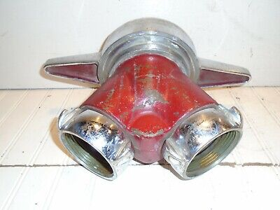 """Akron Siamese """"Y"""" 4-1/2"""" to double 2-1/2"""" NH Clapper Valve Adapter"""