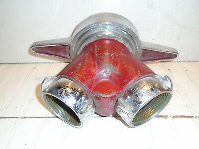 """Vintage Akron Siamese """"Y"""" 4-1/2"""" to double 2-1/2"""" NH Clapper Valve Adapter"""