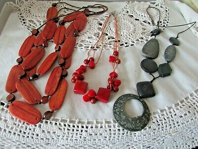 Job Lot of Three Vintage Inspired Cord Necklaces Grey Rust & 3 Row Wooden Retro