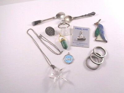 Unique 12pc Vintage Sterling Silver 925 Estate Jewelry Lot All Wearable or Scrap
