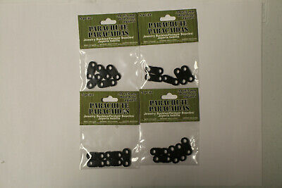 Four Packages of Single Hole Black Jewelry Paracord Buckles