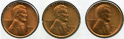 1946 Lincoln Wheat Cent Pennies - PDS Mint Penny Set - Uncirculated - AM527