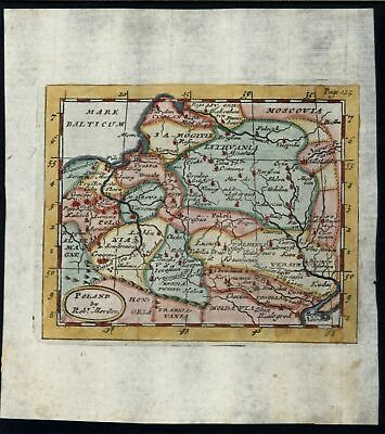 Poland 1719 Morden rare hand color miniature map Not in Malinowski