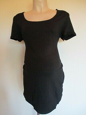 Giggles Classic Black Longer Length Maternity T-Shirt Top Size 12 14 16 18 20