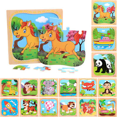 2018 16PCS Wooden Puzzle Jigsaw Animals Kids Baby Early Learning Educational Toy
