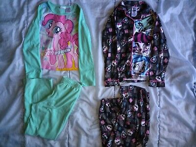 24b0d0366c Lot Of 2 Pairs Girls Fleece Pajama Sets Size 7-8