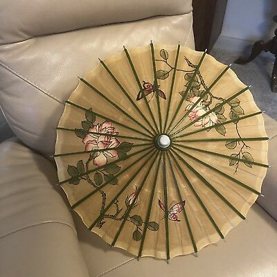 Vintage Paper Parasol Hand Painted Green Pink Floral Chinese Bamboo 1950s Small