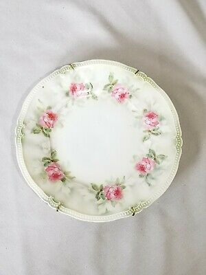 """Vintage RS Prussia Red Mark 8 1/2"""" rose print plate with hanger!"""