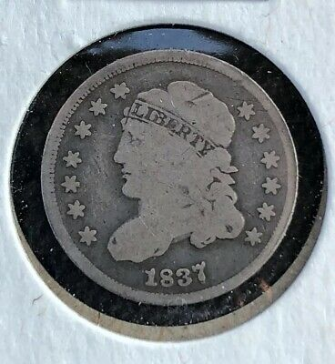 1837/7 Over Date Silver Capped Bust Half Dime ~ Vg Condition! Large 5C Look!!