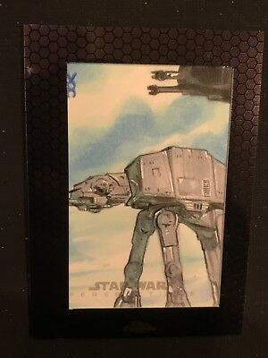 Topps Star Wars Sketch Card 1/1 At-At Walker Chrome Perspective 2014 Sp Hamill