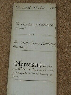 Agreement For Sale Of Land To The Mid Sussex Railway Company 1858