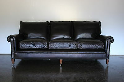 "Peerless Rare George Smith Signature ""Scroll-Arm"" Large 3-Seat Sofa in Dark B..."