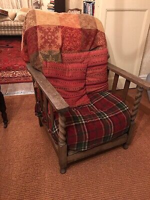 Edwardian? Vintage Steamer Wooden Chair Recliner Occasional Bed