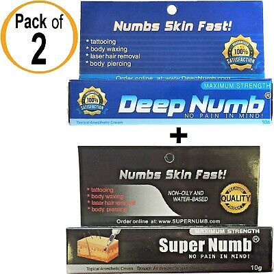 PACK 2 Numbing Cream 10g SUPER NUMB and 10g DEEP NUMB Tattoo Piercings Waxing Dr