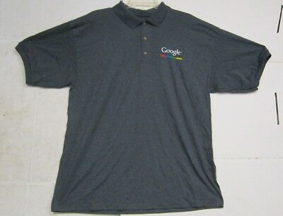 Gildan Dry Blend Mens Grey Casual Button Up Polo Shirt W/ Google Logo XL