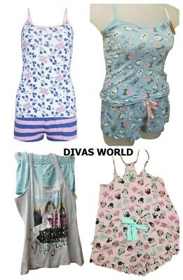 Disney Pj's Girls Ladies Nightwear Pyjama Set Cami Vest Loungewear Primark