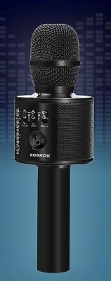 BONAOK Wireless Bluetooth Karaoke Microphone, 3-in-1 Portable Mic - BLACK