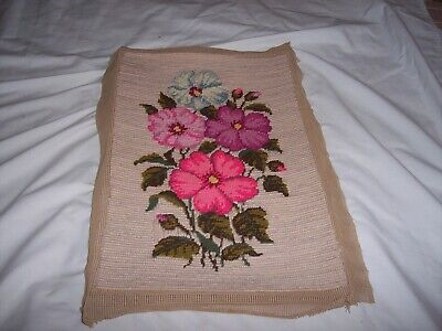 """Flowers Finished Needlepoint Tapestry Canvas Piece Floral Pink White 17"""" x 11"""""""