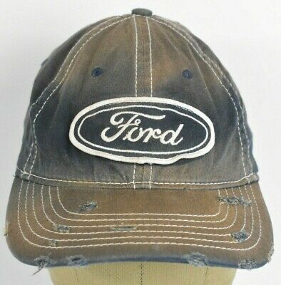 Navy Blue Ford Motor Company Logo Faded Embroidered Baseball hat cap Fitted