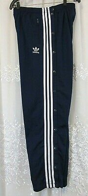 Adidas Womens Vtg 90s Tear Away Snap Button Track Pants 3 Stripe Navy Blue M EUC