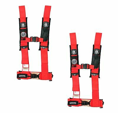"Pro Armor 4 Point Harness 3"" Pads Seat Belt PAIR RED Arctic Cat Prowler 1000"