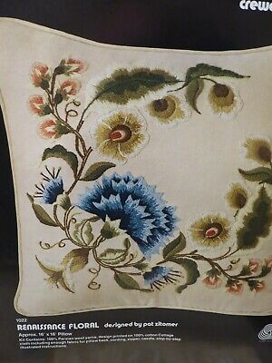 Opened NOT Started Dimensions Crewel Embroidery Pillow Kit - Renaissance Floral