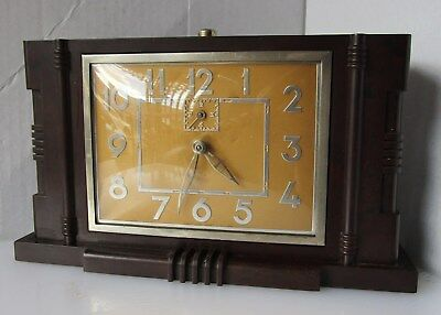 Big Gold Faced Mottled Burgundy Bakelite Alarm Clock with Problems from JAPY