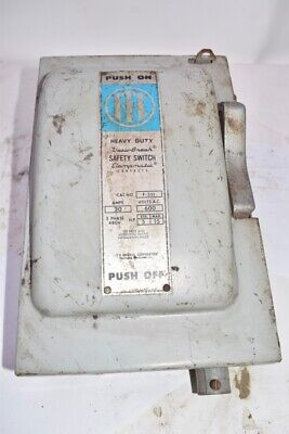 ITE Vacu-Break Safety Switch Disconnect Switch Type:  F-351, 30 Amps, 600 Volts,