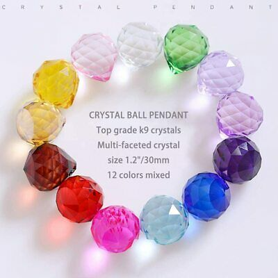 HONGVILLE Fancy Crystal Ball for Holiday Decorating Hanging, 30mm