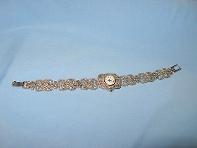 Vintage Faberge Watch Jeweled Ladies Wrist Bracelet Silver Tone