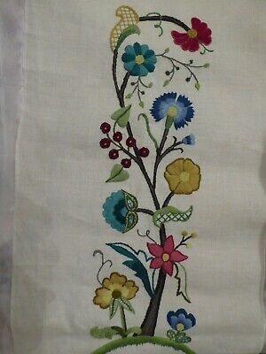 "FINISHED crewel kit by needlework artist.  Unknown brand fabric 27"" by 14"""