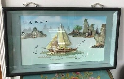 Beautiful Vintage Japanese Shell Artwork In Shadow Box Frame