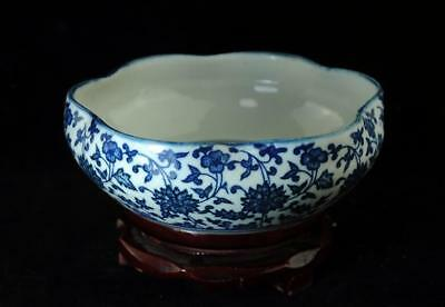 chinese old hand-made blue and white porcelain flower porcelain brush wash b02