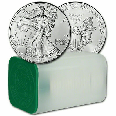 1x 2011 Mint Tube Roll of 20 .999 1 oz BU Silver American Eagle Coins