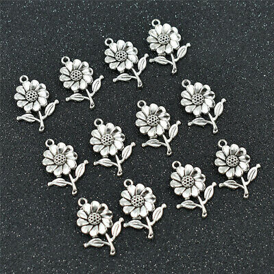 10pcs Sunflower Beads Charms Silver DIY Necklace Bracelet Jewelry Making Gifts