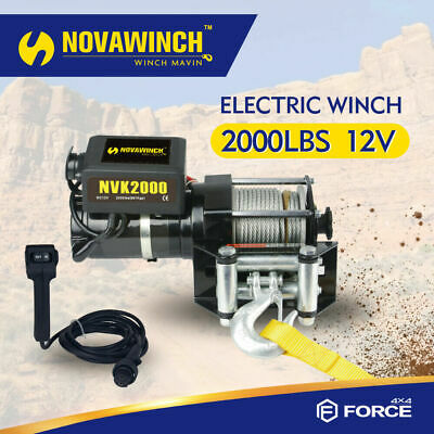 2000Lb Electric Recovery Winch Atv Utility 12V With Steel Rope Roller Fairlead