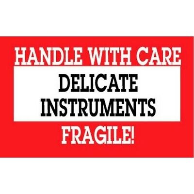 """2"""" x 3"""" Handle with Care Delicate Instruments Fragile Labels (500 per Roll)"""