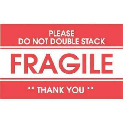 """2"""" x 3"""" Fragile Please Do Not Double Stack Labels (500 per Roll)"""